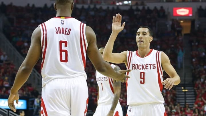 Apr 18, 2015; Houston, TX, USA; Houston Rockets guard Pablo Prigioni (9) and forward Terrence Jones (6) in game one of the first round of the NBA Playoffs against the Dallas Mavericks at Toyota Center. Mandatory Credit: Troy Taormina-USA TODAY Sports