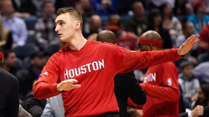 Feb 29, 2016; Milwaukee, WI, USA; Houston Rockets forward Sam Dekker (7) stretches before game against the Milwaukee Bucks but did not play at BMO Harris Bradley Center. Mandatory Credit: Benny Sieu-USA TODAY Sports