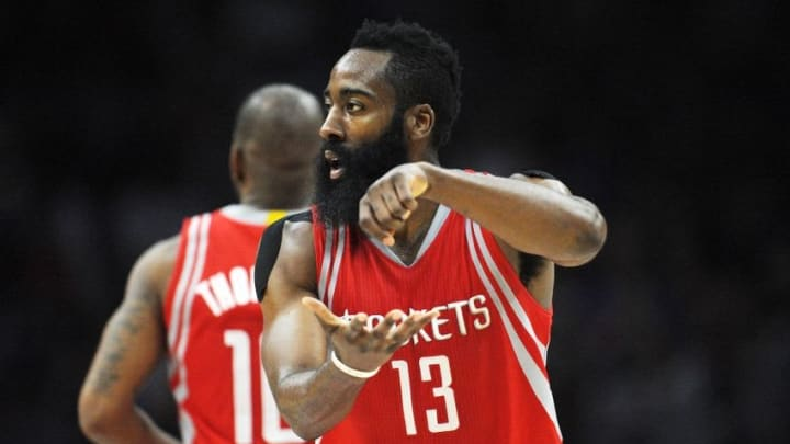 November 7, 2015; Los Angeles, CA, USA; Houston Rockets guard James Harden (13) reacts after scoring a basket against Los Angeles Clippers during the second half at Staples Center. Mandatory Credit: Gary A. Vasquez-USA TODAY Sports