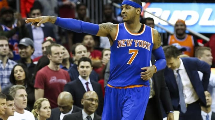 Nov 21, 2015; Houston, TX, USA; New York Knicks forward Carmelo Anthony (7) reacts after a play during the fourth quarter against the Houston Rockets at Toyota Center. The Knicks defeated the Rockets 107-102. Mandatory Credit: Troy Taormina-USA TODAY Sports