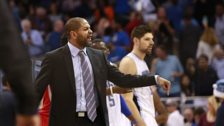 Dec 23, 2015; Orlando, FL, USA; Houston Rockets Interim head coach J.B. Bickerstaff reacts and walks on the court at the end of the game against the Orlando Magic at Amway Center. Orlando Magic defeated the Houston Rockets 104-101. Mandatory Credit: Kim Klement-USA TODAY Sports