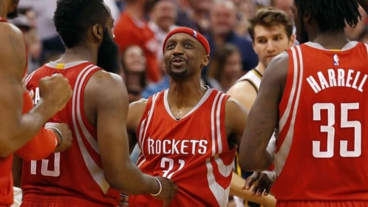 Jan 4, 2016; Salt Lake City, UT, USA; Houston Rockets guard Jason Terry (31) reacts after drawing a foul in the final second of the game against the Utah Jazz at Vivint Smart Home Arena. The Houston Rockets defeated the Utah Jazz 93-91. Mandatory Credit: Jeff Swinger-USA TODAY Sports