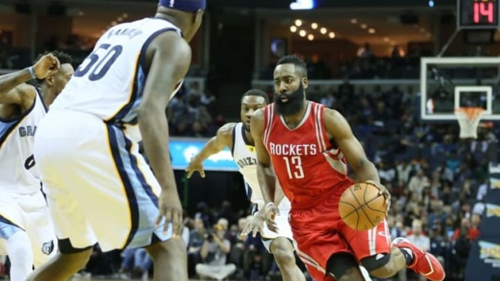 Jan 12, 2016; Memphis, TN, USA; Houston Rockets guard James Harden (13) drives against the Memphis Grizzlies during the second half at FedExForum. Houston defeated Memphis 107-91. Mandatory Credit: Nelson Chenault-USA TODAY Sports