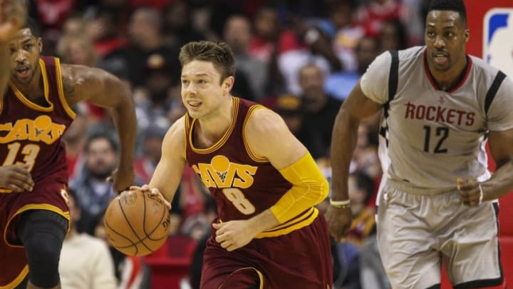 Jan 15, 2016; Houston, TX, USA; Cleveland Cavaliers guard Matthew Dellavedova (8) advances the ball during the fourth quarter against the Houston Rockets at Toyota Center. Mandatory Credit: Troy Taormina-USA TODAY Sports