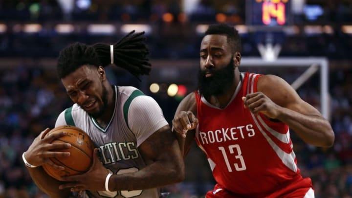 Mar 11, 2016; Boston, MA, USA; Boston Celtics forward Jae Crowder (99) drives to the hoop against Houston Rockets guard James Harden (13) during the second half at TD Garden. Mandatory Credit: Mark L. Baer-USA TODAY Sports