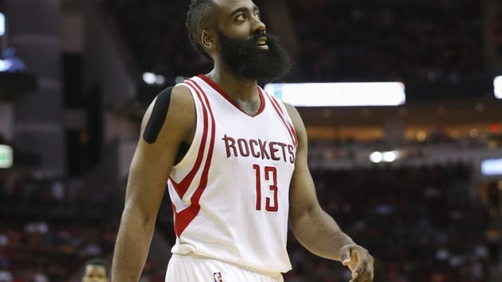 Mar 31, 2016; Houston, TX, USA; Houston Rockets guard James Harden (13) reacts after a play during the first quarter against the Chicago Bulls at Toyota Center. Mandatory Credit: Troy Taormina-USA TODAY Sports