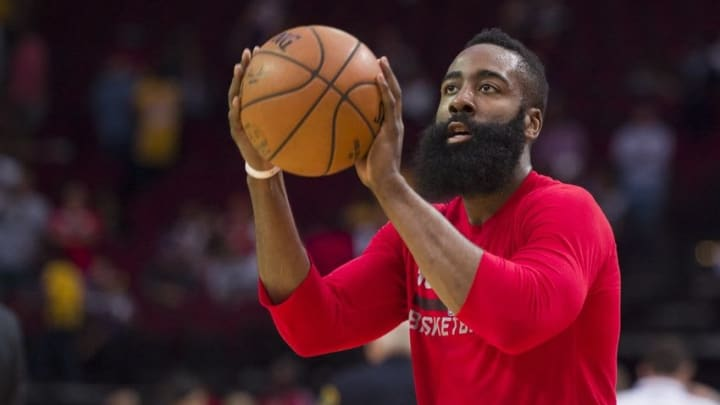 Apr 10, 2016; Houston, TX, USA; Houston Rockets guard James Harden (13) warms up before the game against the Los Angeles Lakers at the Toyota Center. Mandatory Credit: Jerome Miron-USA TODAY Sports