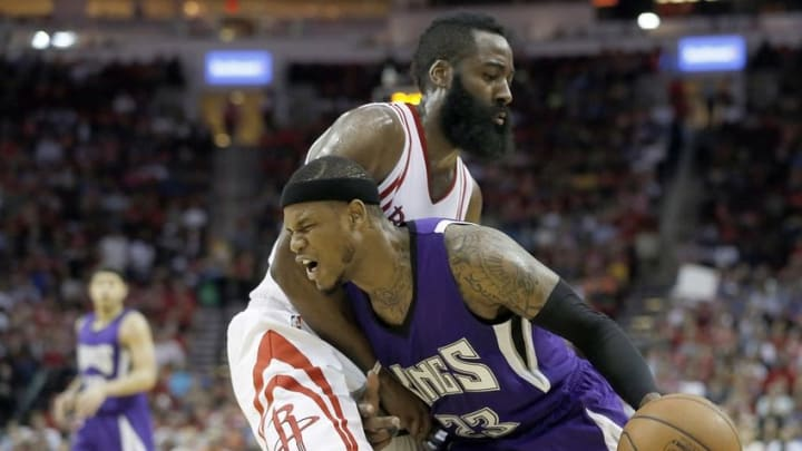 Apr 13, 2016; Houston, TX, USA; Sacramento Kings guard Ben McLemore (23) is defended by Houston Rockets guard James Harden (13) in the second half at Toyota Center. Rockets won 116 to 81. Mandatory Credit: Thomas B. Shea-USA TODAY Sports