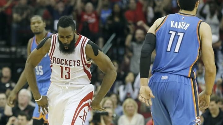 Nov 2, 2015; Houston, TX, USA; Houston Rockets guard James Harden (13) reacts after making a three point basket against the Oklahoma City Thunder in the fourth quarter at Toyota Center. Rocket won 110 to 105. Mandatory Credit: Thomas B. Shea-USA TODAY Sports
