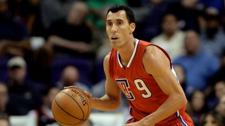 Nov 12, 2015; Phoenix, AZ, USA; Los Angeles Clippers guard Pablo Prigioni (9) dribbles the basketball up the court during the second half of the NBA game against the Phoenix Suns at Talking Stick Resort Arena. Mandatory Credit: Jennifer Stewart-USA TODAY Sports