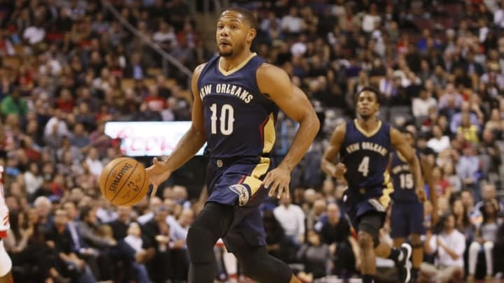 Nov 13, 2015; Toronto, Ontario, CAN; New Orleans Pelicans guard Eric Gordon (10) dribbles the ball against the Toronto Raptors at Air Canada Centre. Toronto defeated New Orleans 100-81. Mandatory Credit: John E. Sokolowski-USA TODAY Sports
