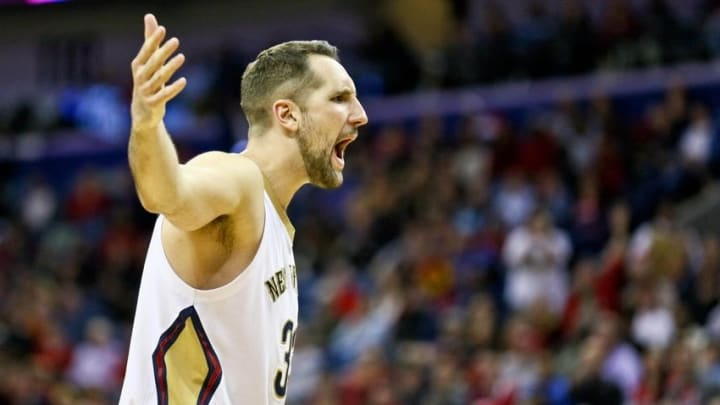 Jan 25, 2016; New Orleans, LA, USA; New Orleans Pelicans forward Ryan Anderson (33) argues an officials call during the fourth quarter of a game against the Houston Rockets at the Smoothie King Center. The Rockets defeated the Pelicans 112-111. Mandatory Credit: Derick E. Hingle-USA TODAY Sports