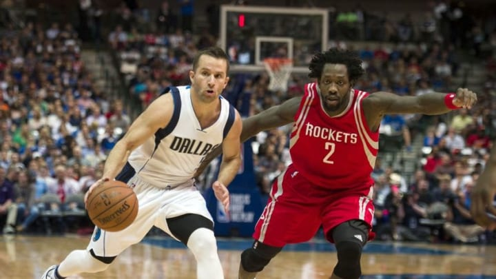 Apr 6, 2016; Dallas, TX, USA; Houston Rockets guard Patrick Beverley (2) guards Dallas Mavericks guard J.J. Barea (5) during the first quarter at the American Airlines Center. Mandatory Credit: Jerome Miron-USA TODAY Sports