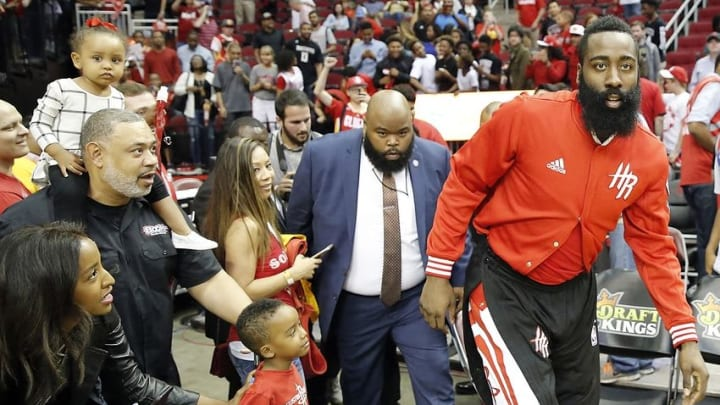 Apr 13, 2016; Houston, TX, USA; Houston Rockets guard James Harden (13) thanks the fans after defeating the Sacramento Kings at Toyota Center. Rockets won 116 to 81. Mandatory Credit: Thomas B. Shea-USA TODAY Sports