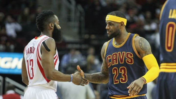 Mar 1, 2015; Houston, TX, USA; Houston Rockets guard James Harden (13) and Cleveland Cavaliers forward LeBron James (23) before a game at Toyota Center. Mandatory Credit: Troy Taormina-USA TODAY Sports