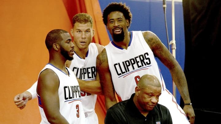 Sep 25, 2015; Los Angeles, CA, USA; Los Angeles Clippers guard Chris Paul (3), forward Blake Griffin (32), center DeAndre Jordan (6) and head coach Doc Rivers during media day at the Clipper Training Facility in Playa Vista. Mandatory Credit: Jayne Kamin-Oncea-USA TODAY Sports