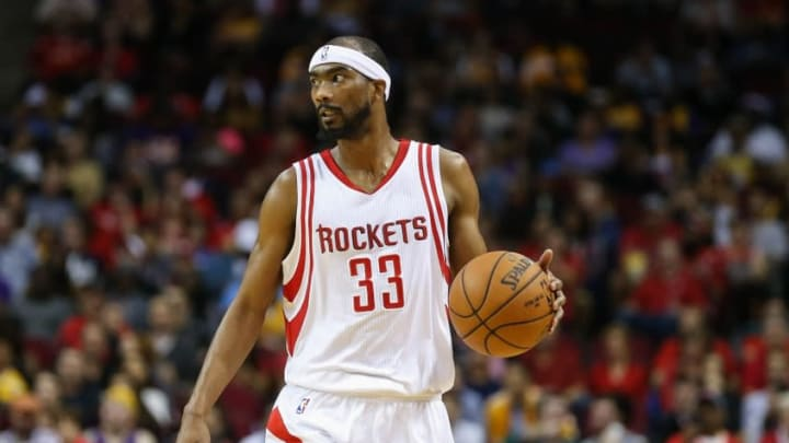 Dec 12, 2015; Houston, TX, USA; Houston Rockets guard Corey Brewer (33) drives the ball during a game against the Los Angeles Lakers at Toyota Center. Mandatory Credit: Troy Taormina-USA TODAY Sports