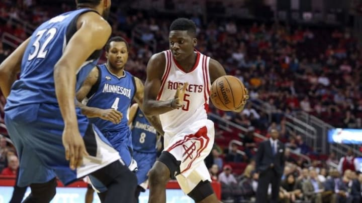 Mar 18, 2016; Houston, TX, USA; Houston Rockets forward Clint Capela (15) drives the ball to the basket during the first quarter against the Minnesota Timberwolves at Toyota Center. Mandatory Credit: Troy Taormina-USA TODAY Sports