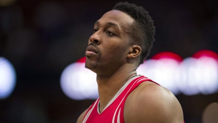 Apr 6, 2016; Dallas, TX, USA; Houston Rockets center Dwight Howard (12) waits for play to resume against the Dallas Mavericks during the second half at the American Airlines Center. The Mavericks defeat the Rockets 88-86. Mandatory Credit: Jerome Miron-USA TODAY Sports