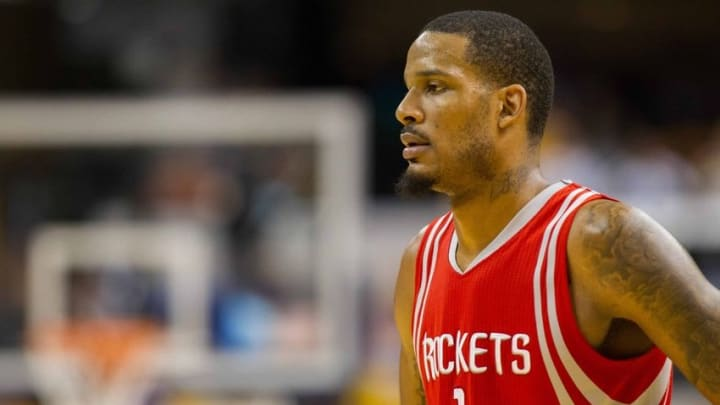 Mar 27, 2016; Indianapolis, IN, USA; Houston Rockets forward Trevor Ariza (1) during a free throw in the game against the Indiana Pacers at Bankers Life Fieldhouse. The Indiana Pacers beat the Houston Rockets by the score of 104-101. Mandatory Credit: Trevor Ruszkowski-USA TODAY Sports