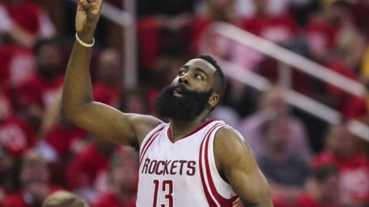 Apr 21, 2016; Houston, TX, USA; Houston Rockets guard James Harden (13) points up after a play during the second quarter against the Golden State Warriors in game three of the first round of the NBA Playoffs at Toyota Center. Mandatory Credit: Troy Taormina-USA TODAY Sports