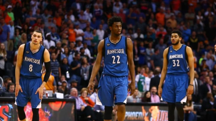Mar 14, 2016; Phoenix, AZ, USA; Minnesota Timberwolves guard Zach LaVine (8), center Karl-Anthony Towns (32) and guard Andrew Wiggins (22) against the Phoenix Suns at Talking Stick Resort Arena. The Suns defeated the Timberwolves 107-104. Mandatory Credit: Mark J. Rebilas-USA TODAY Sports