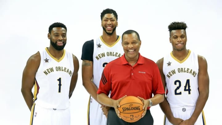 Sep 23, 2016; New Orleans, LA, USA; (editors note: caption correction) New Orleans Pelicans forward Anthony Davis (23) and guard Buddy Hield (24) and guard Tyreke Evans (1) and head coach Alvin Gentry pose for a portrait with head coach Alvin Gentry during media day at the Smoothie King Center. Mandatory Credit: Derick E. Hingle-USA TODAY Sports