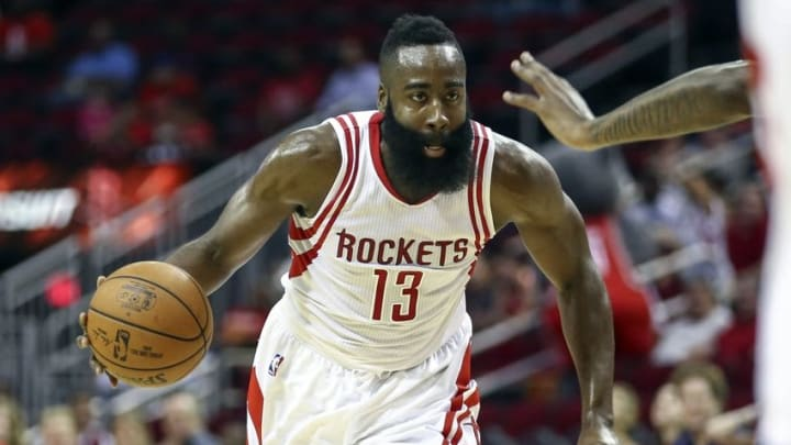 Oct 4, 2016; Houston, TX, USA; Houston Rockets guard James Harden (13) dribbles the ball during the first quarter against the New York Knicks at Toyota Center. Mandatory Credit: Troy Taormina-USA TODAY Sports