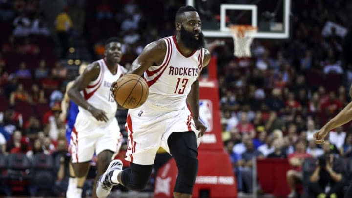 Oct 4, 2016; Houston, TX, USA; Houston Rockets guard James Harden (13) dribbles the ball during the second quarter against the New York Knicks at Toyota Center. Mandatory Credit: Troy Taormina-USA TODAY Sports