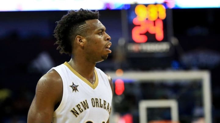 Oct 4, 2016; New Orleans, LA, USA; New Orleans Pelicans guard Buddy Hield (24) during the second half of a game against the Indiana Pacers at the Smoothie King Center. The Pacers defeated the Pelicans 113-96. Mandatory Credit: Derick E. Hingle-USA TODAY Sports