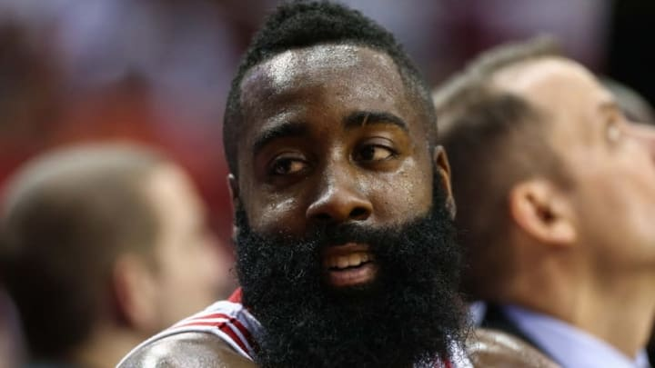 Oct 4, 2016; Houston, TX, USA; Houston Rockets guard James Harden (13) on the bench during a game against the New York Knicks at Toyota Center. Mandatory Credit: Troy Taormina-USA TODAY Sports