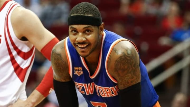 Oct 4, 2016; Houston, TX, USA; New York Knicks forward Carmelo Anthony (7) during a game against the Houston Rockets at Toyota Center. Mandatory Credit: Troy Taormina-USA TODAY Sports