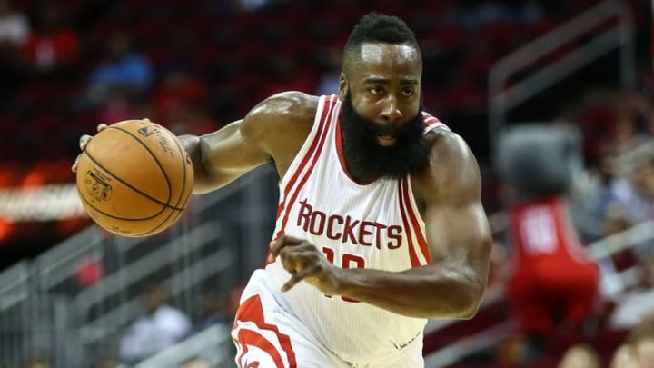 Oct 4, 2016; Houston, TX, USA; Houston Rockets guard James Harden (13) with the ball during a game against the New York Knicks at Toyota Center. Mandatory Credit: Troy Taormina-USA TODAY Sports