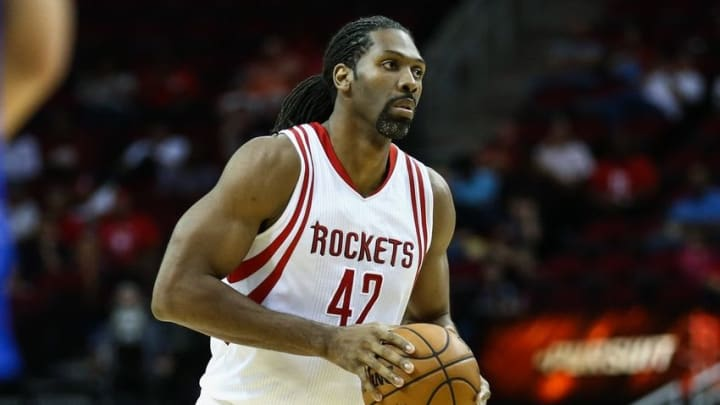 Oct 4, 2016; Houston, TX, USA; Houston Rockets center Nene Hilario (42) during a game against the New York Knicks at Toyota Center. Mandatory Credit: Troy Taormina-USA TODAY Sports