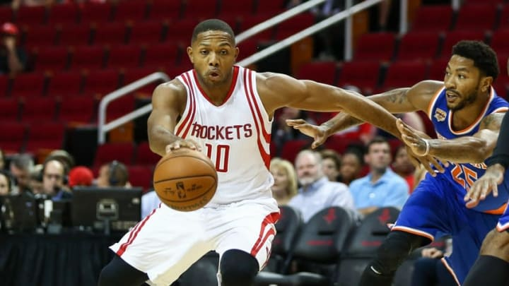 Oct 4, 2016; Houston, TX, USA; Houston Rockets guard Eric Gordon (10) attempts to control the ball during a game against the New York Knicks at Toyota Center. Mandatory Credit: Troy Taormina-USA TODAY Sports