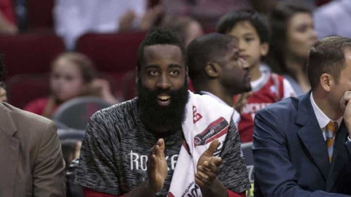Oct 15, 2016; Houston, TX, USA; Houston Rockets guard James Harden (13) cheers for this team as the take on the Memphis Grizzlies during the second half at the Toyota Center. The Grizzlies defeat the Rockets 134-125. Mandatory Credit: Jerome Miron-USA TODAY Sports