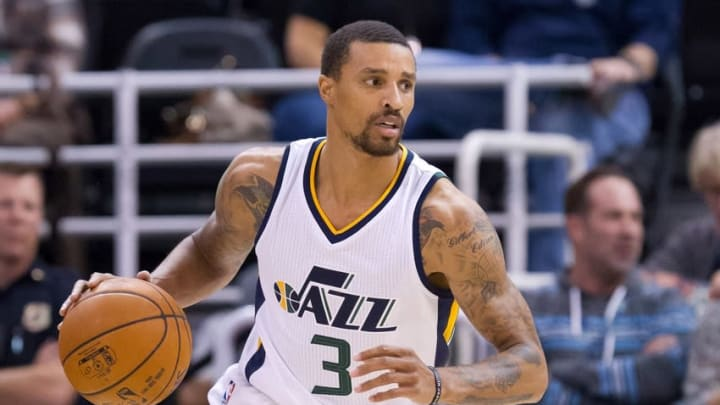 Oct 17, 2016; Salt Lake City, UT, USA; Utah Jazz guard George Hill (3) dribbles the ball during the first half against the Los Angeles Clippers at Vivint Smart Home Arena. Mandatory Credit: Russ Isabella-USA TODAY Sports