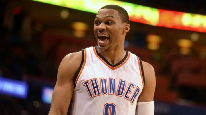 Oct 18, 2016; Oklahoma City, OK, USA; Oklahoma City Thunder guard Russell Westbrook (0) reacts to a play against the Denver Nuggets during the second quarter at Chesapeake Energy Arena. Mandatory Credit: Mark D. Smith-USA TODAY Sports