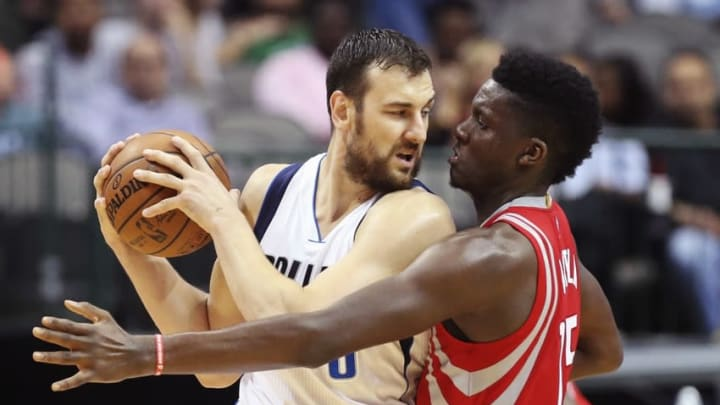 Oct 19, 2016; Dallas, TX, USA; Dallas Mavericks center Andrew Bogut (6) looks to drives to the basket as Houston Rockets center Clint Capela (15) defends during the second half at American Airlines Center. Mandatory Credit: Kevin Jairaj-USA TODAY Sports