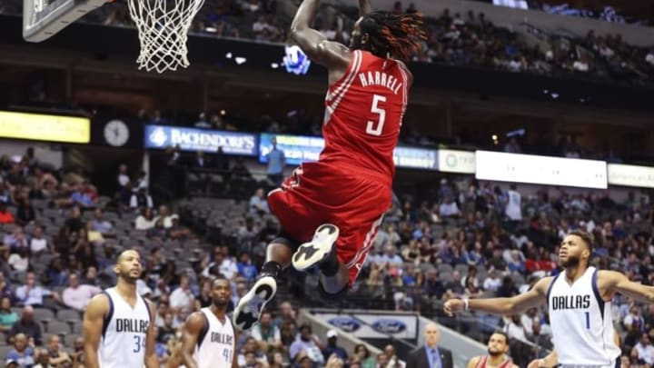 Oct 19, 2016; Dallas, TX, USA; Houston Rockets forward Montrezl Harrell (5) dunks during the second half against the Dallas Mavericks at American Airlines Center. Mandatory Credit: Kevin Jairaj-USA TODAY Sports
