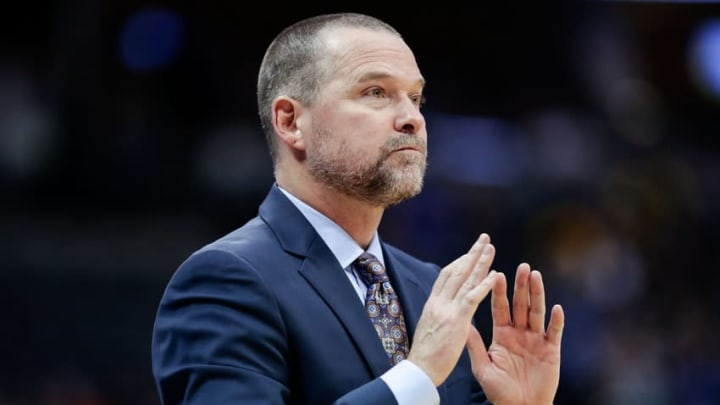 Oct 21, 2016; Denver, CO, USA; Denver Nuggets head coach Michael Malone looks on from the sidelines in the third quarter against the Dallas Mavericks at the Pepsi Center. The Nuggets won 101-75. Mandatory Credit: Isaiah J. Downing-USA TODAY Sports