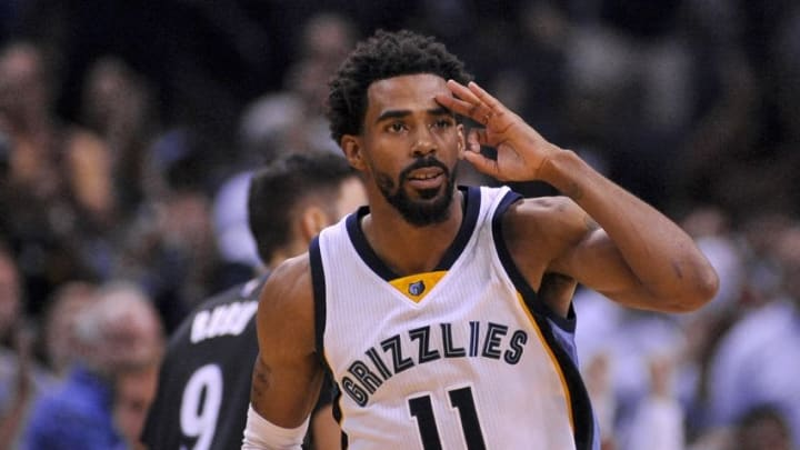 Oct 26, 2016; Memphis, TN, USA; Memphis Grizzlies guard Mike Conley (11) reacts after the play against the Minnesota Timberwolves during the second half at FedExForum. Memphis Grizzlies defeated the Minnesota Timberwolves 102-98. Mandatory Credit: Justin Ford-USA TODAY Sports