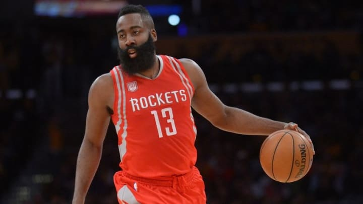 October 26, 2016; Los Angeles, CA, USA; Houston Rockets guard James Harden (13) controls the ball against the Los Angeles Lakers during the first half at Staples Center. Mandatory Credit: Gary A. Vasquez-USA TODAY Sports
