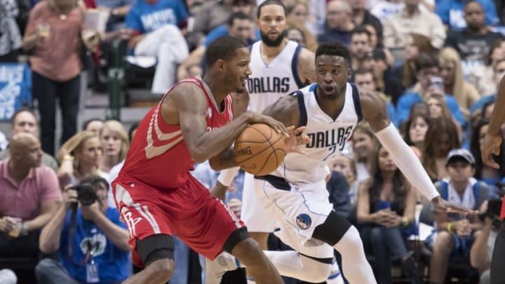 Oct 28, 2016; Dallas, TX, USA; Dallas Mavericks guard Wesley Matthews (23) guards Houston Rockets forward Trevor Ariza (1) during the first half at the American Airlines Center. Mandatory Credit: Jerome Miron-USA TODAY Sports