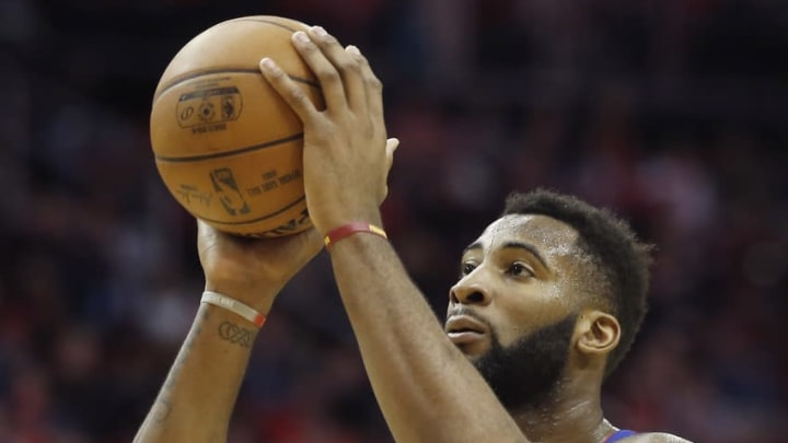 Jan 20, 2016; Houston, TX, USA; Detroit Pistons center Andre Drummond (0) shoots a free throw agains the Houston Rockets in the second half at Toyota Center. Pistons won 123 to 114. Mandatory Credit: Thomas B. Shea-USA TODAY Sports