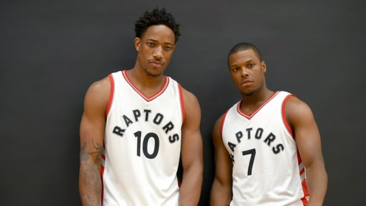 Sep 26, 2016; Toronto, Ontario, Canada; Toronto Raptors guards DeMar DeRozan and Kyle Lowry (7) pose for pictures on media day at BioSteel Centre. Mandatory Credit: Dan Hamilton-USA TODAY Sports