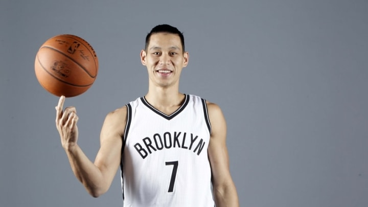 Sep 26, 2016; Brooklyn, NY, USA; Brooklyn Nets guard Jeremy Lin (7) during media day at HSS Training Center. Mandatory Credit: Nicole Sweet-USA TODAY Sports