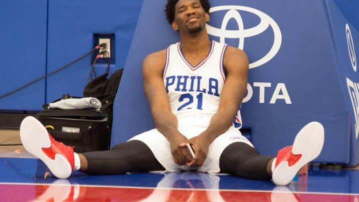 Sep 26, 2016; Philadelphia, PA, USA; Philadelphia 76ers center Joel Embiid (21) takes a break during media day at the Philadelphia 76ers Training Complex. Mandatory Credit: Bill Streicher-USA TODAY Sports