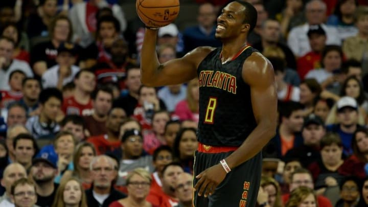 Oct 20, 2016; Omaha, NE, USA; Atlanta Hawks center Dwight Howard (8) in action against the Chicago Bulls at CenturyLink Center Omaha. Atlanta defeated Chicago 97-81. Mandatory Credit: Steven Branscombe-USA TODAY Sports