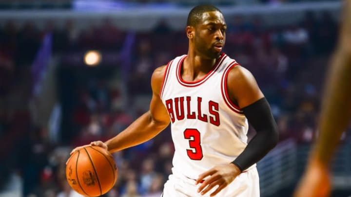Oct 29, 2016; Chicago, IL, USA; Chicago Bulls guard Dwyane Wade (3) controls the ball during the first half against the Indiana Pacers at United Center. Mandatory Credit: Jeffrey Becker-USA TODAY Sports